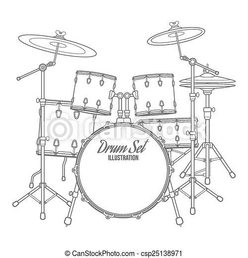 Vector Dark Outline Drum Set On White Background Bass Tom Tom Ride