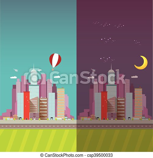 Night City Skyline Clipart
