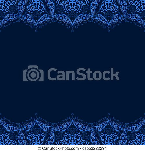 Vector Decorative Border From Blue Snowflakes On Dark Background Greeting Invitation Card For Christmas New Year