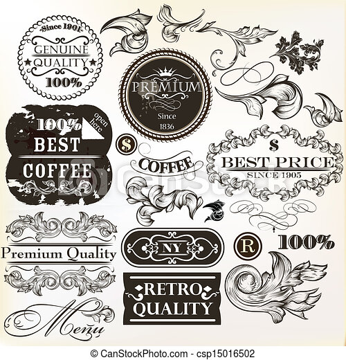 vector, decorative elements, set - csp15016502