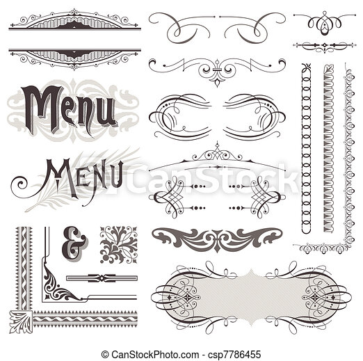 Vector decorative ornate design elements & calligraphic page decorations - csp7786455