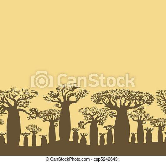 Vector decorative seamless border of sketch hand drawing baobab tree - csp52426431