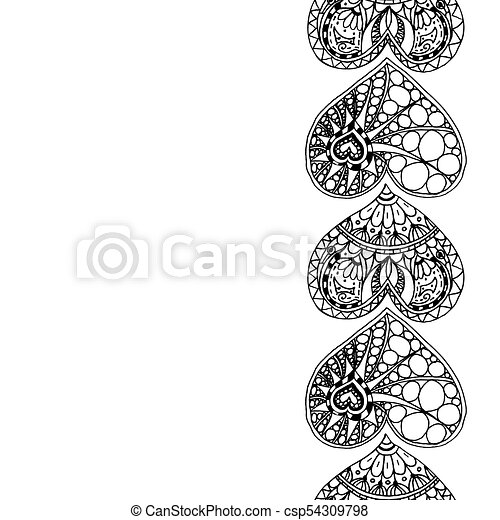vector decorative vertical border from black hand drawing hearts on white background coloring page