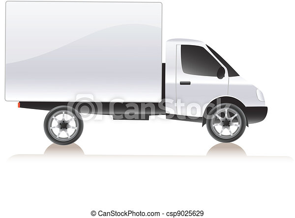 Vector delivery cargo truck . Isolated on white - csp9025629