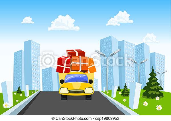 Vector delivery truck distributes goods - csp19809952