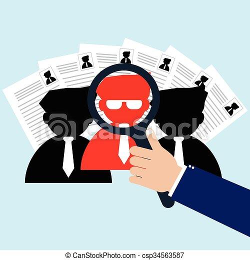 Empresario con lupa seleccionó a la persona adecuada para un nuevo trabajador. Reclutamiento de ilustración de vectores y concepto de gestión de recursos humanos. - csp34563587