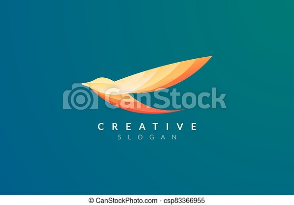 Vector design of a bird in flight with various bright colors. - csp83366955