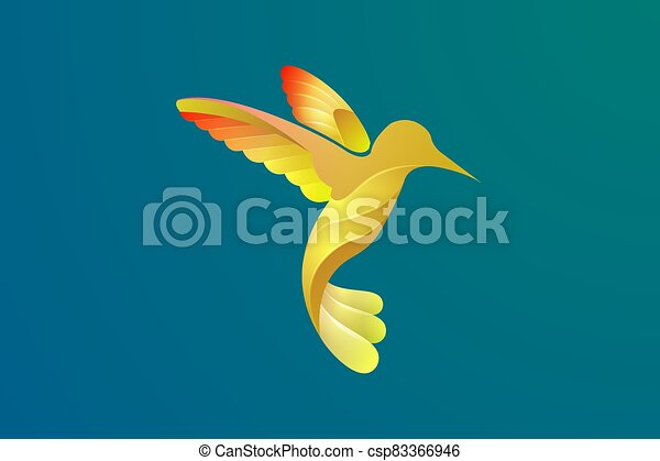 Vector design of a bird in flight with various bright colors. - csp83366946