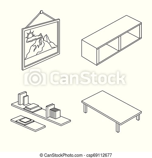 Vector design of bedroom and room symbol. Set of bedroom and furniture stock vector illustration. - csp69112677