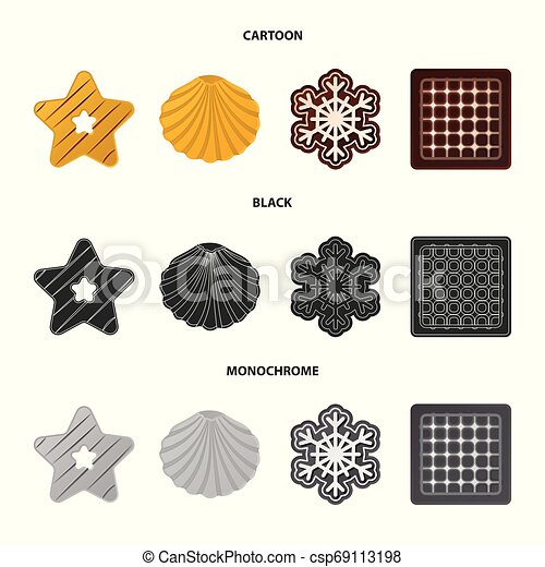 Vector design of biscuit and bake symbol. Set of biscuit and chocolate stock symbol for web. - csp69113198