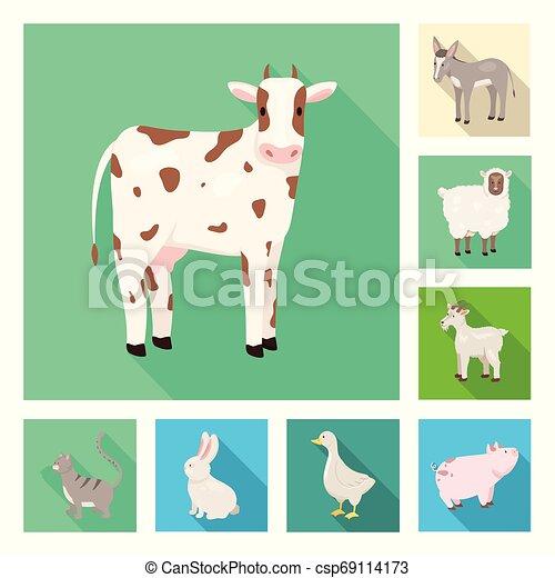 Vector design of breeding and kitchen logo. Collection of breeding and organic vector icon for stock. - csp69114173