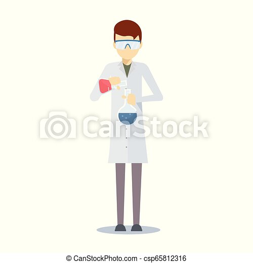 vector design of chemistry scientist vector design of scientific professor with laboratory instruments https www canstockphoto com vector design of chemistry scientist 65812316 html