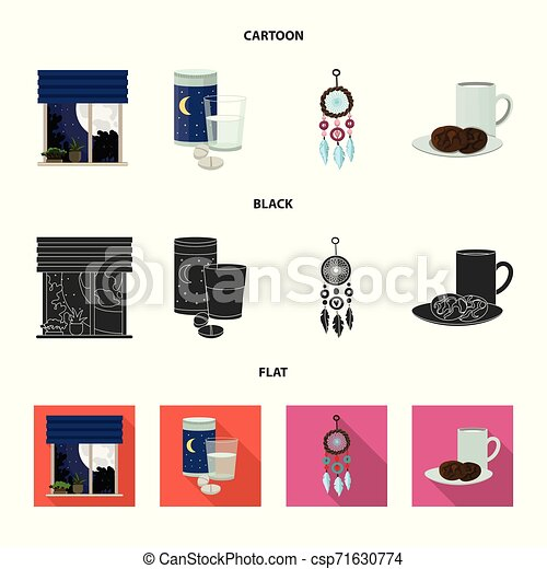 Vector design of dreams and night icon. Set of dreams and bedroom stock vector illustration. - csp71630774