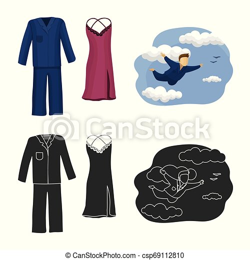 Vector design of dreams and night logo. Collection of dreams and bedroom vector icon for stock. - csp69112810