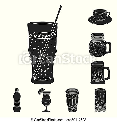 Vector design of drink and bar icon. Set of drink and party stock vector illustration. - csp69112803