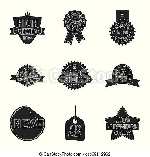 Vector design of emblem and badge sign. Collection of emblem and sticker stock vector illustration. - csp69112962