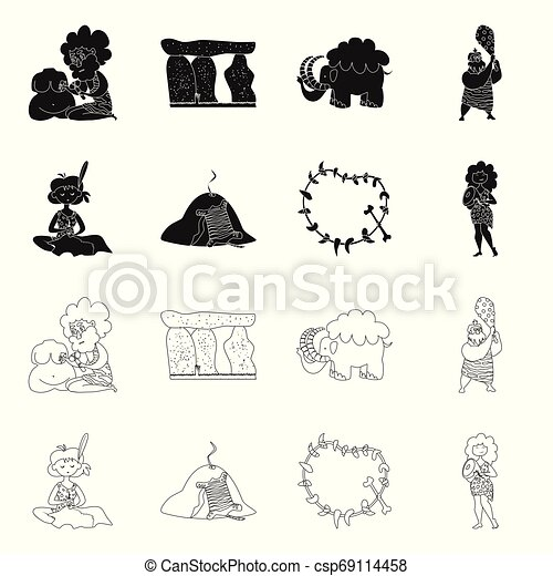 Vector design of evolution and prehistory icon. Collection of evolution and development vector icon for stock. - csp69114458