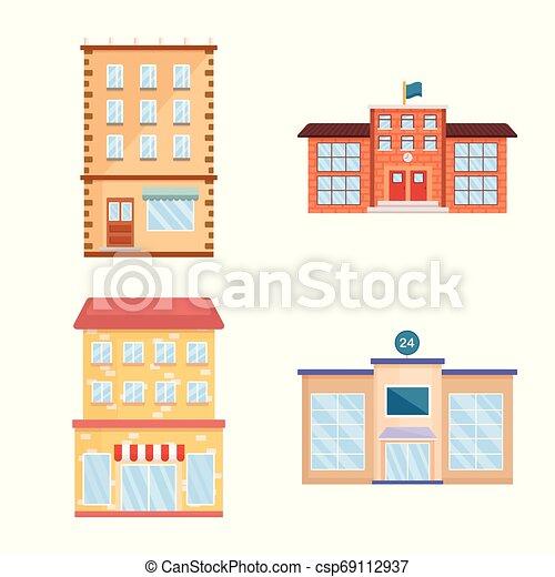Vector design of facade and building symbol. Set of facade and exterior stock symbol for web. - csp69112937