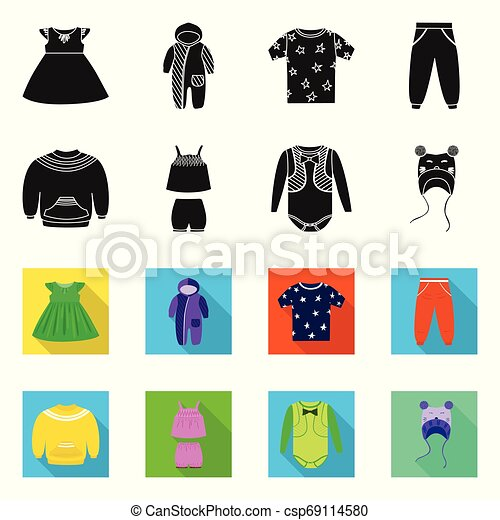 Vector design of fashion and garment symbol. Set of fashion and cotton stock vector illustration. - csp69114580