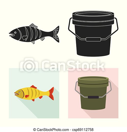 Vector design of fish and fishing icon. Set of fish and equipment stock symbol for web. - csp69112758