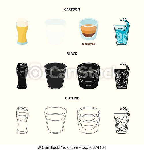 Vector design of glass and transparent icon. Set of glass and empty stock vector illustration. - csp70874184