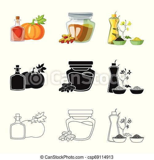 Vector design of healthy and vegetable logo. Collection of healthy and agriculture stock vector illustration. - csp69114913