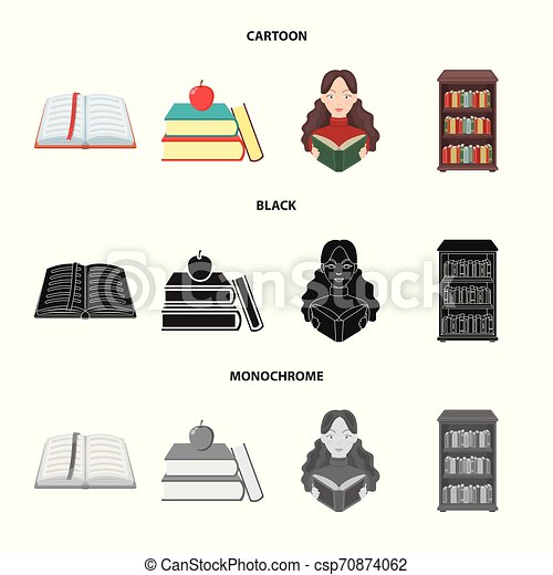Vector design of library and textbook icon. Collection of library and school stock vector illustration. - csp70874062