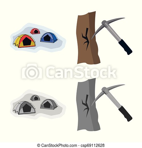 Vector design of mountaineering and peak icon. Collection of mountaineering and camp vector icon for stock. - csp69112628