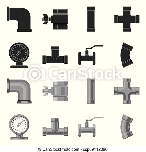 Vector design of pipe and tube sign. Collection of pipe and pipeline stock vector illustration. - csp69112896