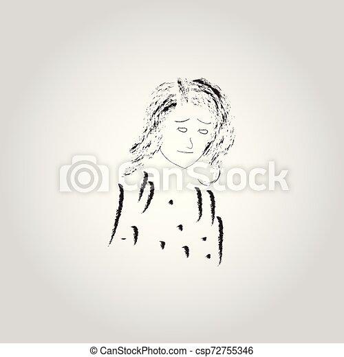Vector design of sad woman, human expression - csp72755346