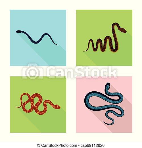 Vector design of skin and reptile symbol. Set of skin and danger stock symbol for web. - csp69112826