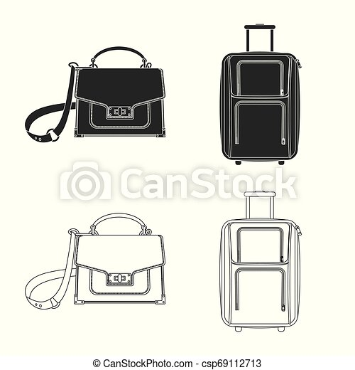Vector design of suitcase and baggage sign. Set of suitcase and journey stock symbol for web. - csp69112713