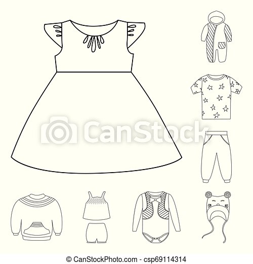Vector design of wear and child symbol. Set of wear and apparel stock symbol for web. - csp69114314