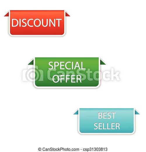vector design set of elements in three colors red, green, blue - discount, special offer, best seller - csp31303813