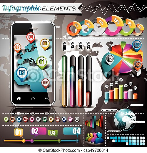 Vector design set of infographic elements world map and vector vector design set of infographic elements world map and information graphics on mobile phone eps gumiabroncs Gallery