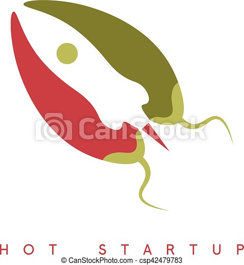 Vector design template of hot rocket startup chili pepper.