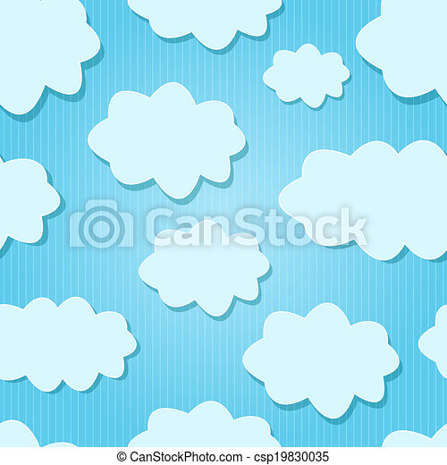 Vector Design White  Clouds in Blue Sky. - csp19830035