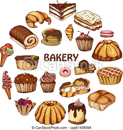 Vector desserts elements in hand drawn style. Delicious food. Art illustration. Sweet pastry for your design in cafe menu, posters, brochures - csp61448094