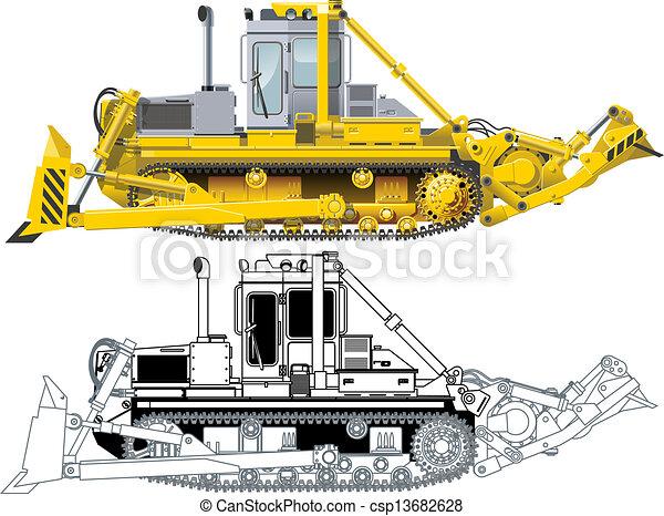 Vector Detailed Buldozer - csp13682628