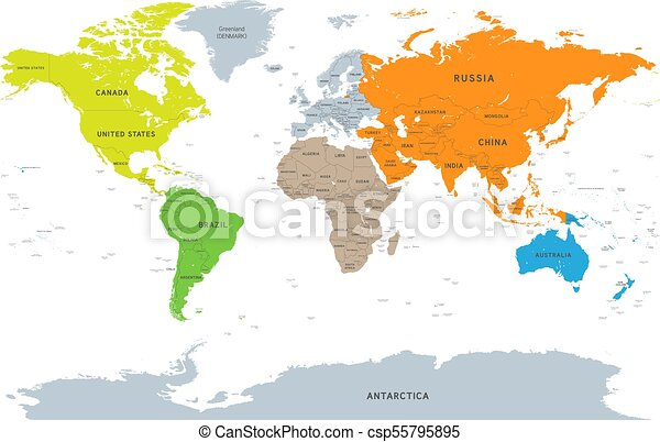 Vector detailed continent world map vector illustration of a vector detailed continent world map gumiabroncs Images