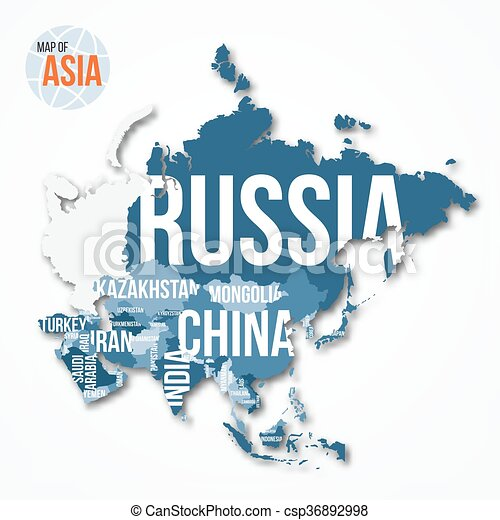 Detailed Map Of Asia.Vector Detailed Map Of Asia
