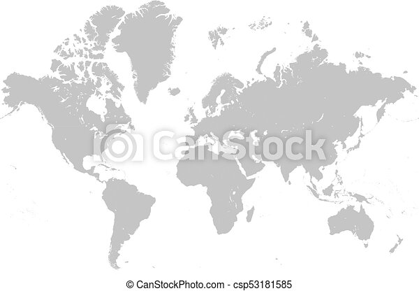 Vector detailed mercatore grey world map. Vector illustration of a ...