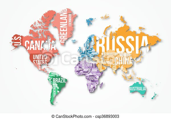 Vector detailed world map with borders and country names vector vector detailed world map gumiabroncs Choice Image