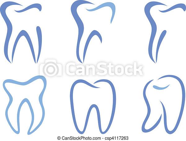 vector, dientes - csp4117263