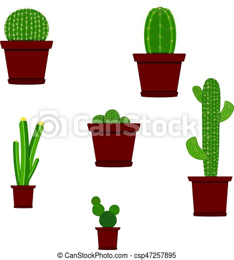 vector different types of cactus plants decorative icons set