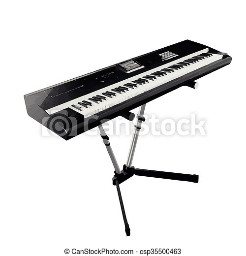 Vector Digital Piano Synthesizer Isolated On White