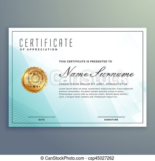 vector diploma certificate design with blue modern shapes