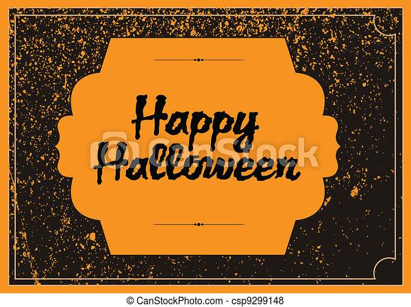Vector Distressed Halloween Frame - csp9299148