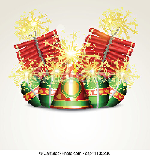Vector Diwali Crackers Isolated On White