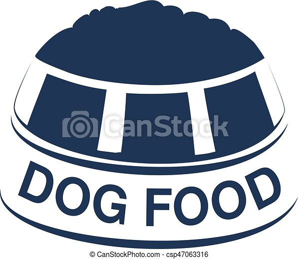Vector Dog Food Label With Silhouette Of A Bowl Of Feed Dog Food